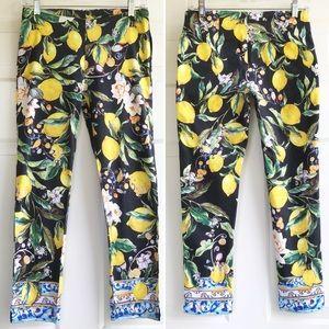 Boston Proper Lemon Ankle Pants Black Yellow Sz. 0